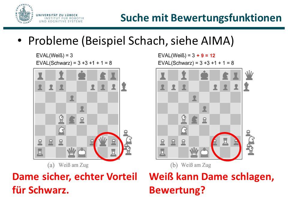 Probleme (Beispiel Schach, siehe AIMA) Dame sicher, echter Vorteil für Schwarz. Weiß kann Dame schlagen, Bewertung? + 9 = 12