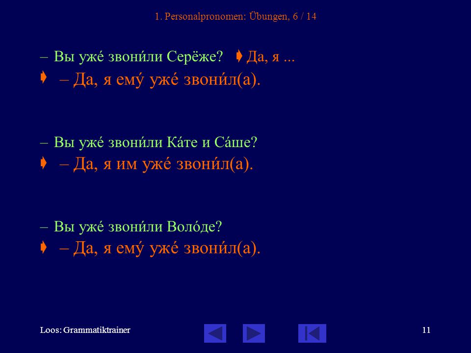 Loos: Grammatiktrainer11 1. Personalpronomen: Übungen, 6 / 14 – Вы ужå звонèли Серёже.