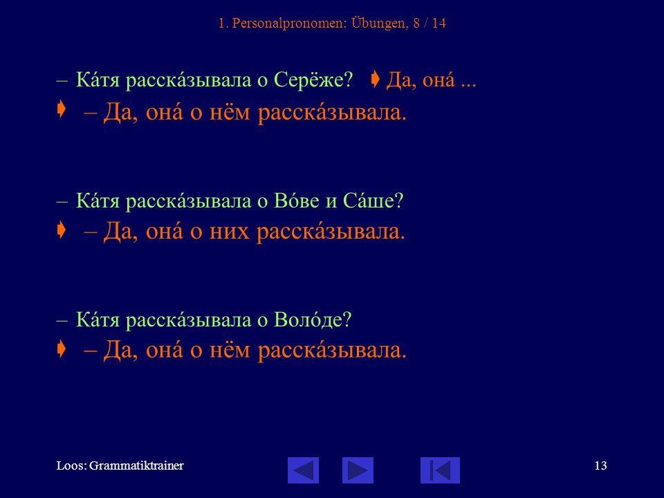 Loos: Grammatiktrainer13 1. Personalpronomen: Übungen, 8 / 14 – Кàтя расскàзывала о Серёже.