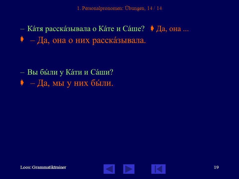 Loos: Grammatiktrainer19 1. Personalpronomen: Übungen, 14 / 14 – Кàтя расскàзывала о Кàте и Сàше.