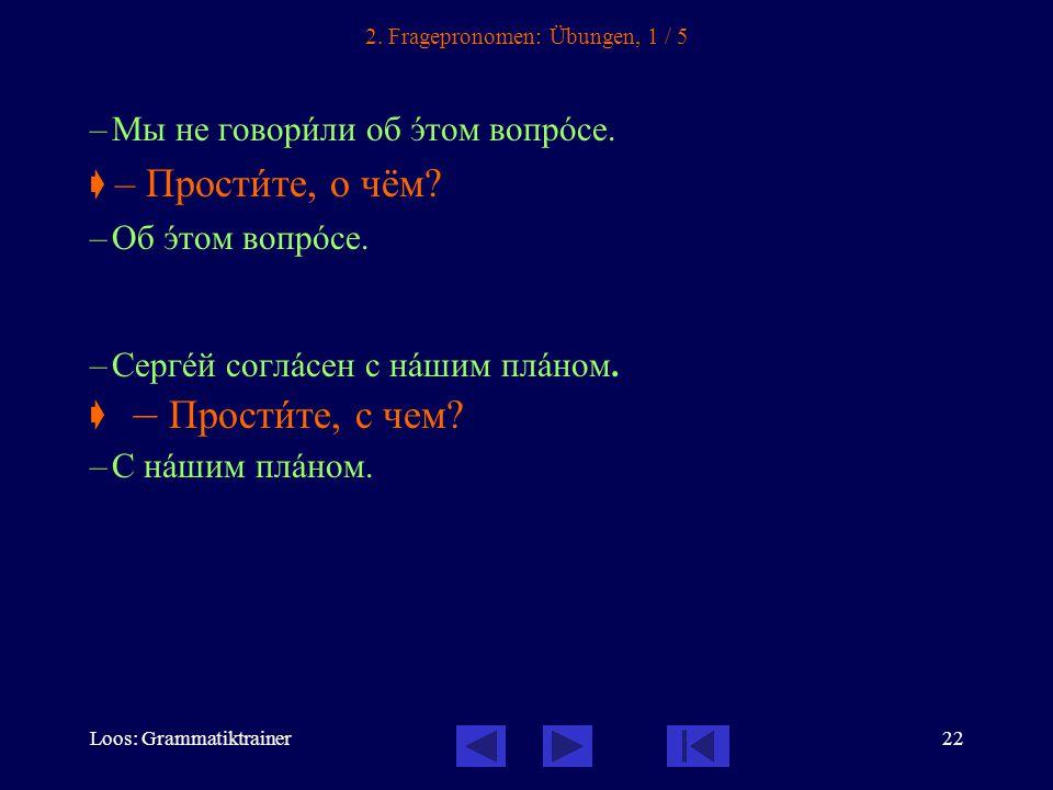 Loos: Grammatiktrainer22 2. Fragepronomen: Übungen, 1 / 5 –Мы не говорèли об ýтом вопрîсе.