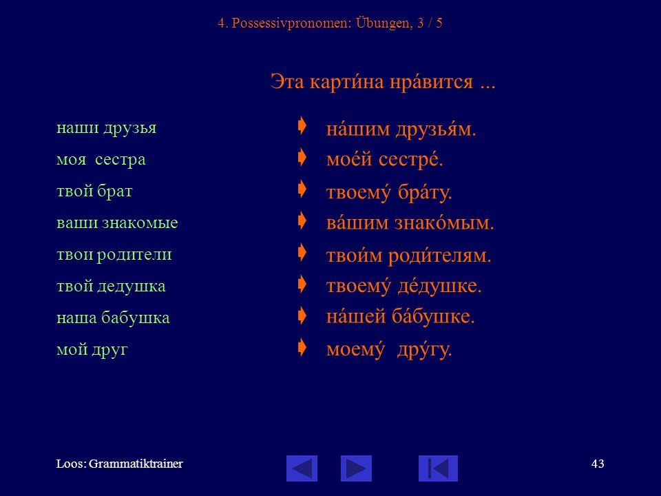 Loos: Grammatiktrainer43 4. Possessivpronomen: Übungen, 3 / 5 Эта картèна нрàвится...