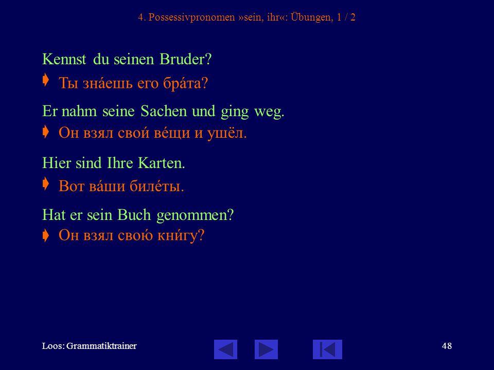 Loos: Grammatiktrainer48 4. Possessivpronomen »sein, ihr«: Übungen, 1 / 2 Kennst du seinen Bruder.