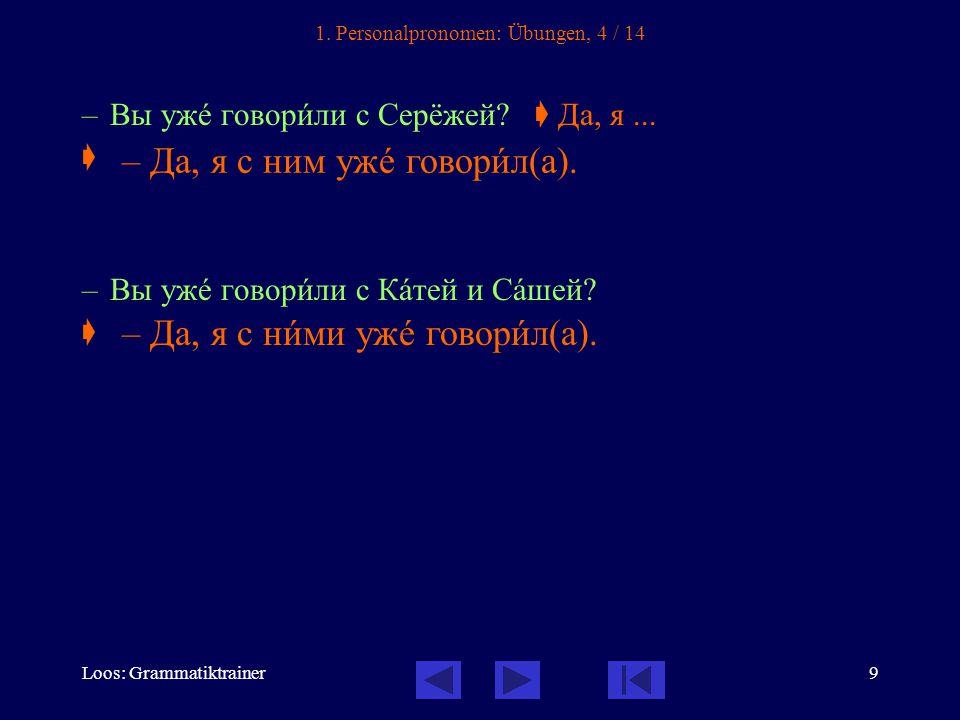 Loos: Grammatiktrainer9 1. Personalpronomen: Übungen, 4 / 14 – Вы ужå говорèли с Серёжей.