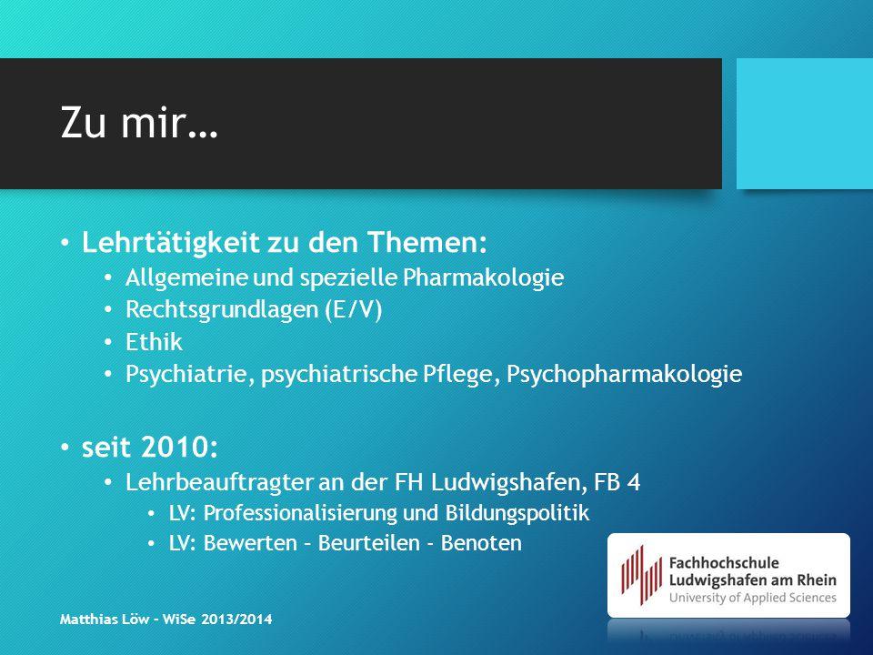 Zu mir… Lehrtätigkeit zu den Themen: Allgemeine und spezielle Pharmakologie Rechtsgrundlagen (E/V) Ethik Psychiatrie, psychiatrische Pflege, Psychopha