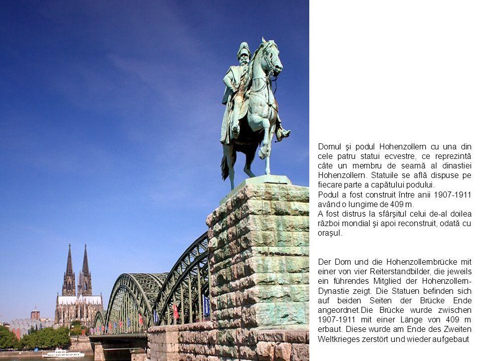 Domul şi podul Hohenzollern cu una din cele patru statui ecvestre, ce reprezintă câte un membru de seamă al dinastiei Hohenzollern. Statuile se află d