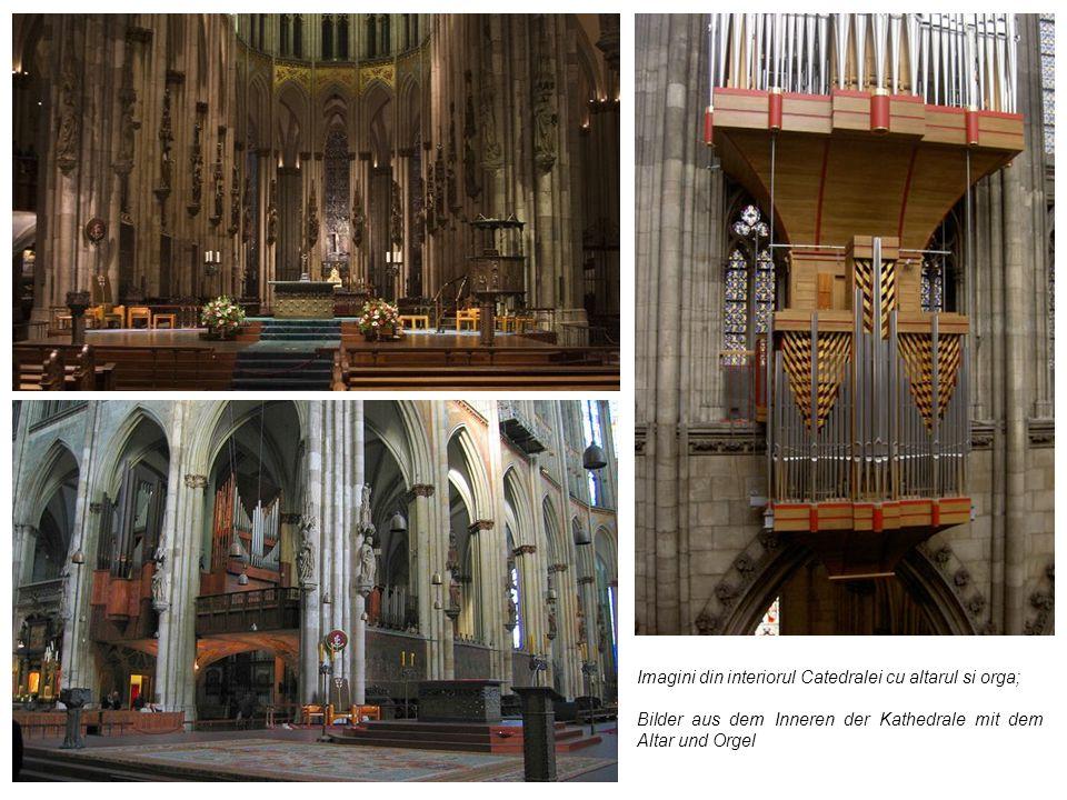 Imagini din interiorul Catedralei cu altarul si orga; Bilder aus dem Inneren der Kathedrale mit dem Altar und Orgel