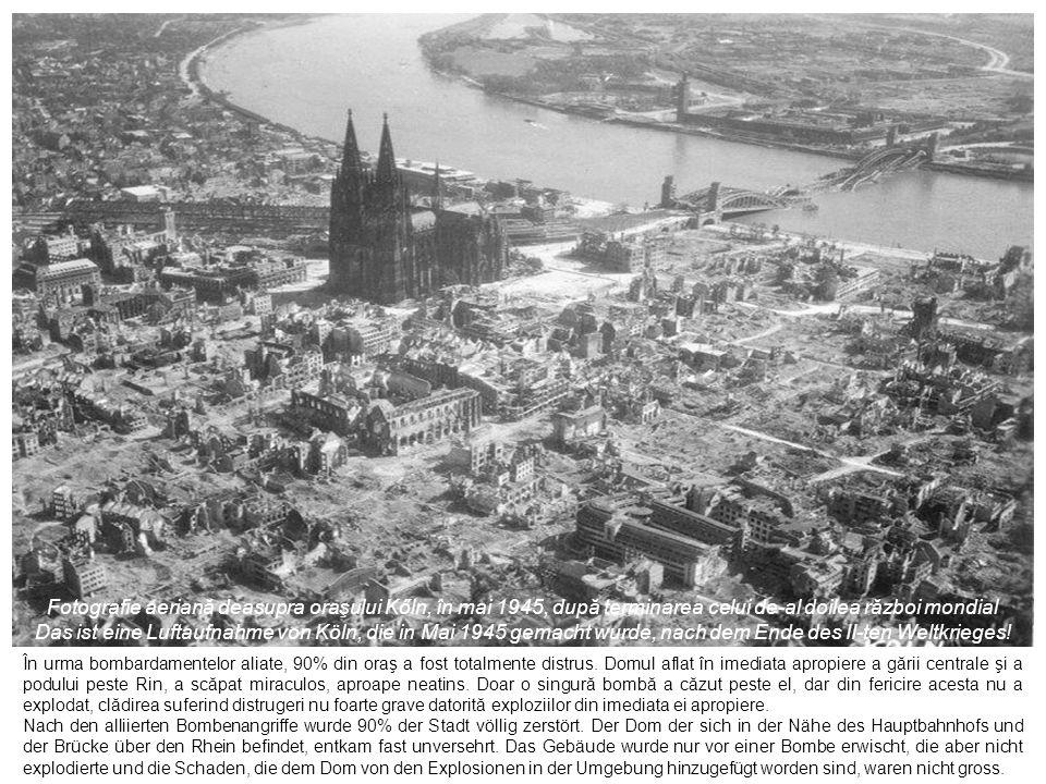 Fotografii din anul 1945, după terminarea războiului; în stânga sus, e gara centrală Fotos von 1945, nach dem Krieg; die linke obere ist die Hauptbanhof