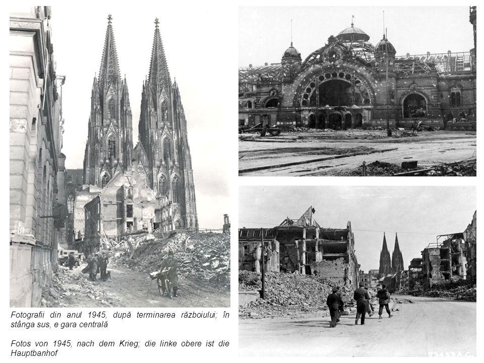 Fotografii din anul 1945, după terminarea războiului; în stânga sus, e gara centrală Fotos von 1945, nach dem Krieg; die linke obere ist die Hauptbanh