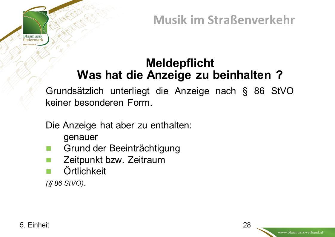 Musik im Straßenverkehr Meldepflicht Was hat die Anzeige zu beinhalten .