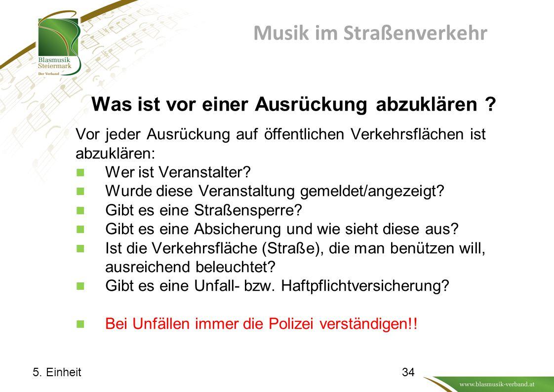 Musik im Straßenverkehr Was ist vor einer Ausrückung abzuklären .
