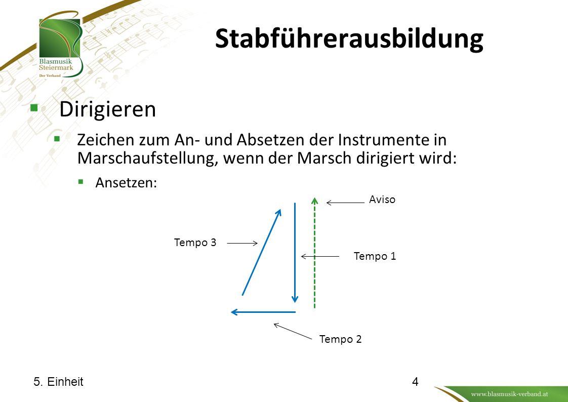 Stabführerausbildung  Dirigieren  Zeichen zum An- und Absetzen der Instrumente in Marschaufstellung, wenn der Marsch dirigiert wird:  Absetzen: Vor die Brust: An die Seite: 5.