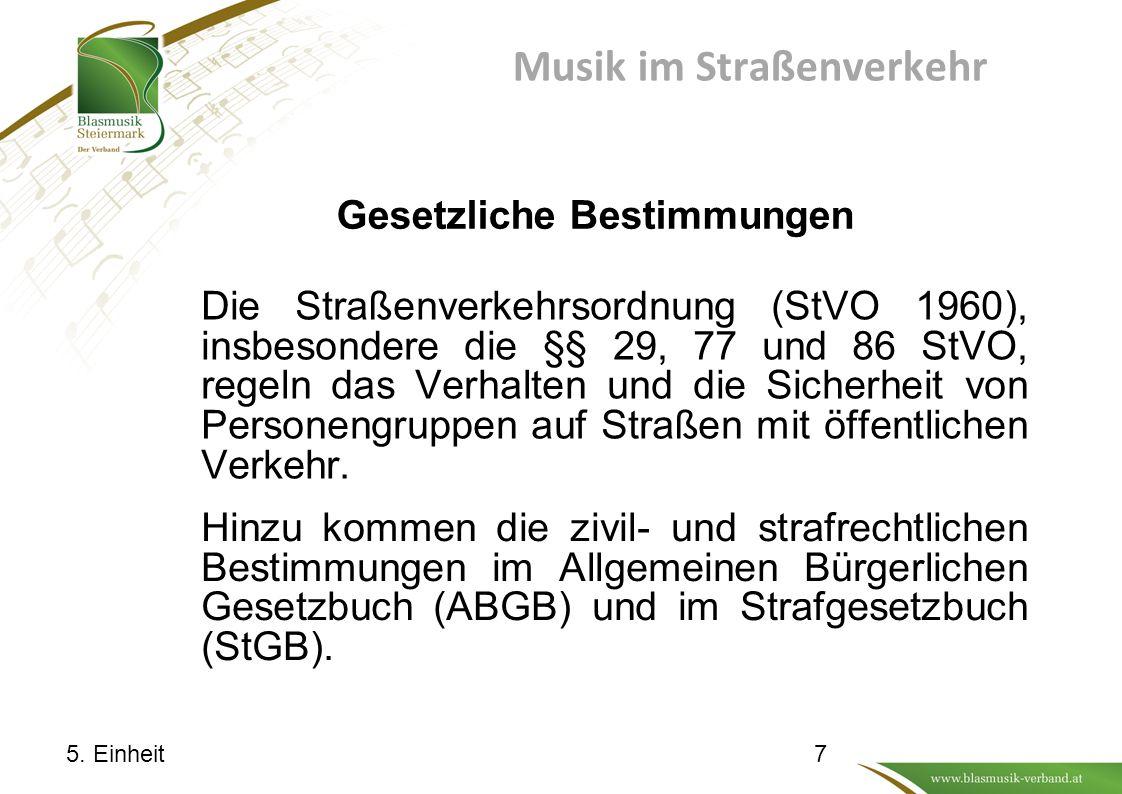 Musik im Straßenverkehr Die Straßenverkehrsordnung (StVO 1960), insbesondere die §§ 29, 77 und 86 StVO, regeln das Verhalten und die Sicherheit von Personengruppen auf Straßen mit öffentlichen Verkehr.