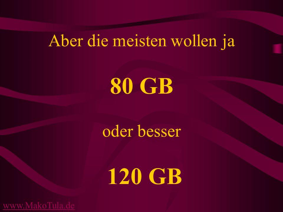 www.MakoTula.de Aber die meisten wollen ja 80 GB oder besser 120 GB