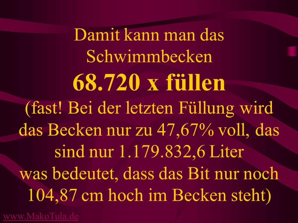 www.MakoTula.de Damit kann man das Schwimmbecken 68.720 x füllen (fast.