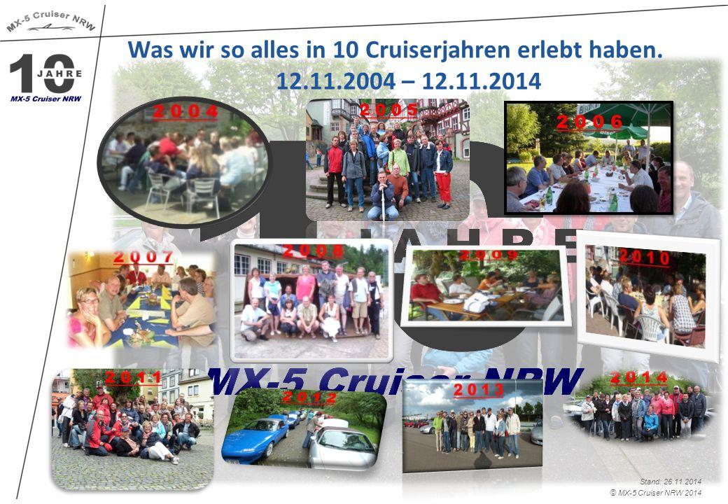 © MX-5 Cruiser NRW 2014 Stand: 26.11.2014 Was wir so alles in 10 Cruiserjahren erlebt haben.