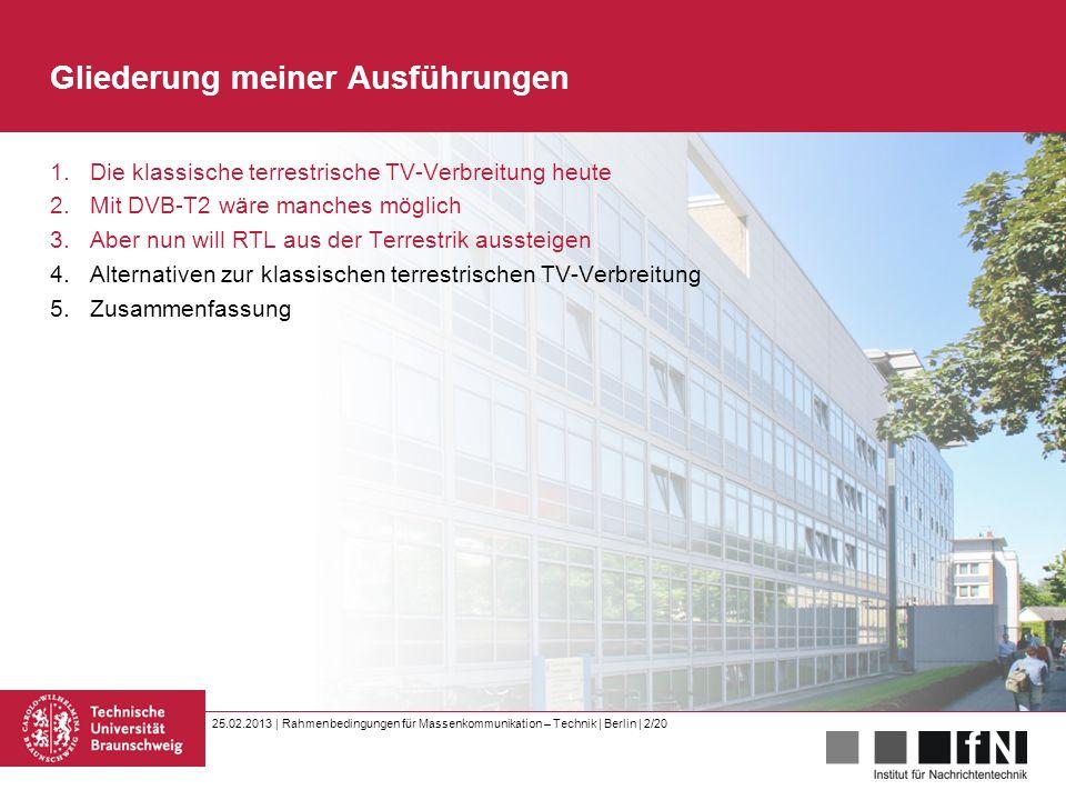 25.02.2013 | Rahmenbedingungen für Massenkommunikation – Technik | Berlin | 2/20 Gliederung meiner Ausführungen 1.Die klassische terrestrische TV-Verb