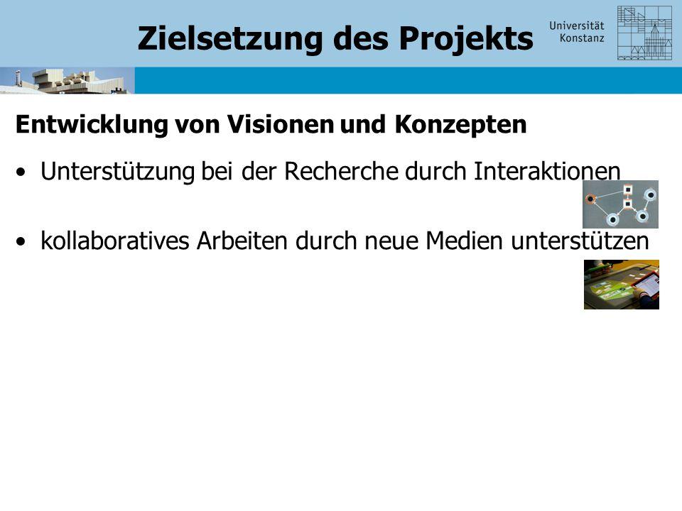 Zielsetzung des Projekts Entwicklung von Visionen und Konzepten Unterstützung bei der Recherche durch Interaktionen kollaboratives Arbeiten durch neue Medien unterstützen
