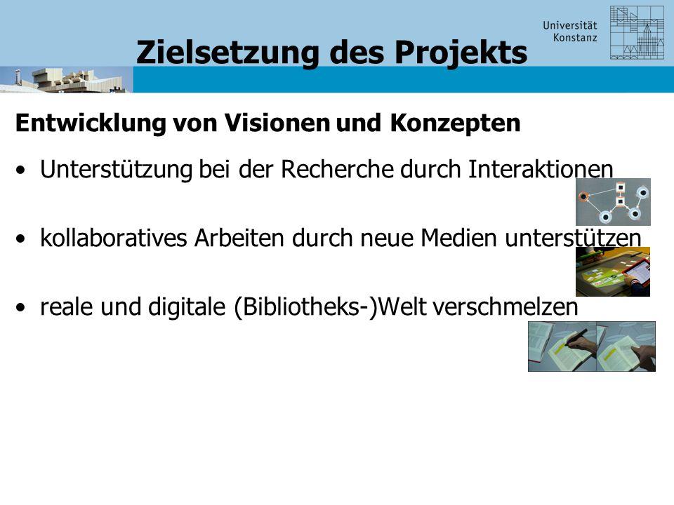 Zielsetzung des Projekts Entwicklung von Visionen und Konzepten Unterstützung bei der Recherche durch Interaktionen kollaboratives Arbeiten durch neue Medien unterstützen reale und digitale (Bibliotheks-)Welt verschmelzen