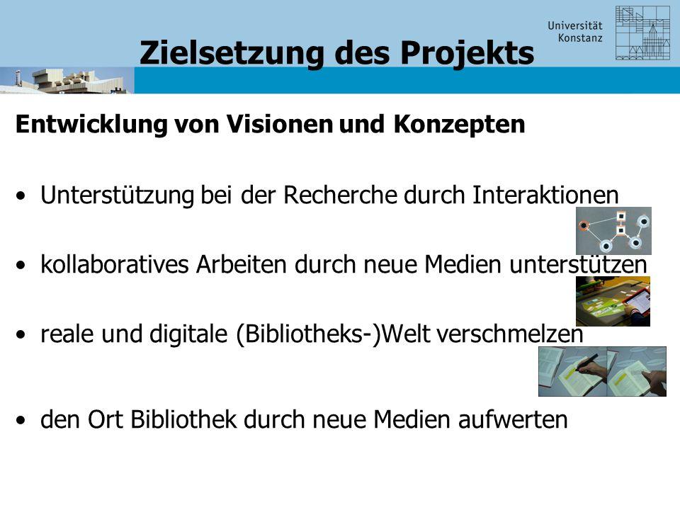 Zielsetzung des Projekts Entwicklung von Visionen und Konzepten Unterstützung bei der Recherche durch Interaktionen kollaboratives Arbeiten durch neue Medien unterstützen reale und digitale (Bibliotheks-)Welt verschmelzen den Ort Bibliothek durch neue Medien aufwerten