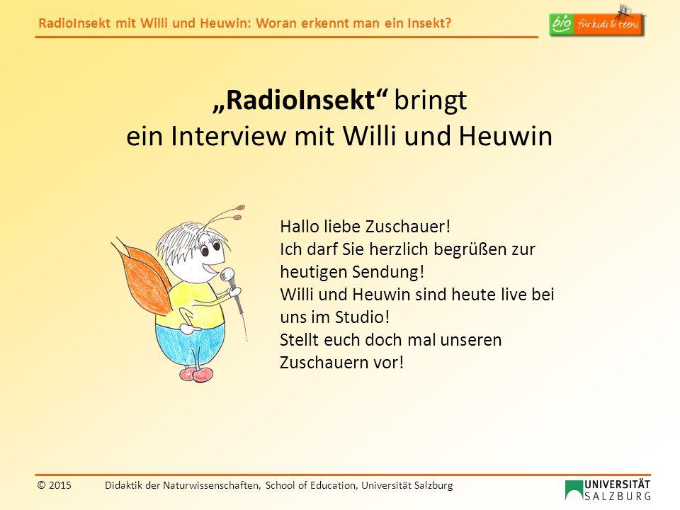 """RadioInsekt mit Willi und Heuwin: Woran erkennt man ein Insekt? © 2015Didaktik der Naturwissenschaften, School of Education, Universität Salzburg """"Rad"""