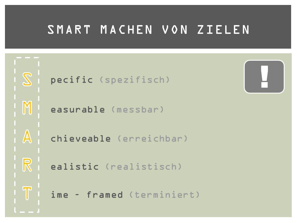 SMART MACHEN VON ZIELEN pecific (spezifisch) easurable (messbar) chieveable (erreichbar) ealistic (realistisch) ime – framed (terminiert)