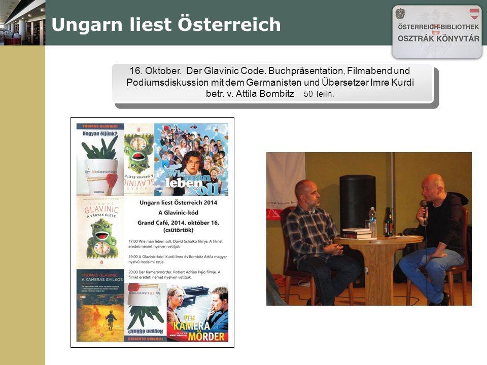 Ungarn liest Österreich 16. Oktober. Der Glavinic Code.