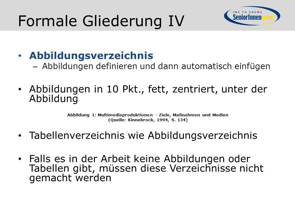 Formale Gliederung IV Abbildungsverzeichnis – Abbildungen definieren und dann automatisch einfügen Abbildungen in 10 Pkt., fett, zentriert, unter der