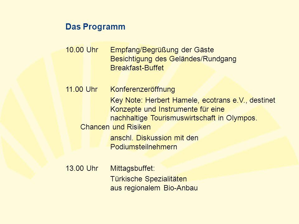 Das Programm 10.00 UhrEmpfang/Begrüßung der Gäste Besichtigung des Geländes/Rundgang Breakfast-Buffet 11.00 UhrKonferenzeröffnung Key Note: Herbert Ha