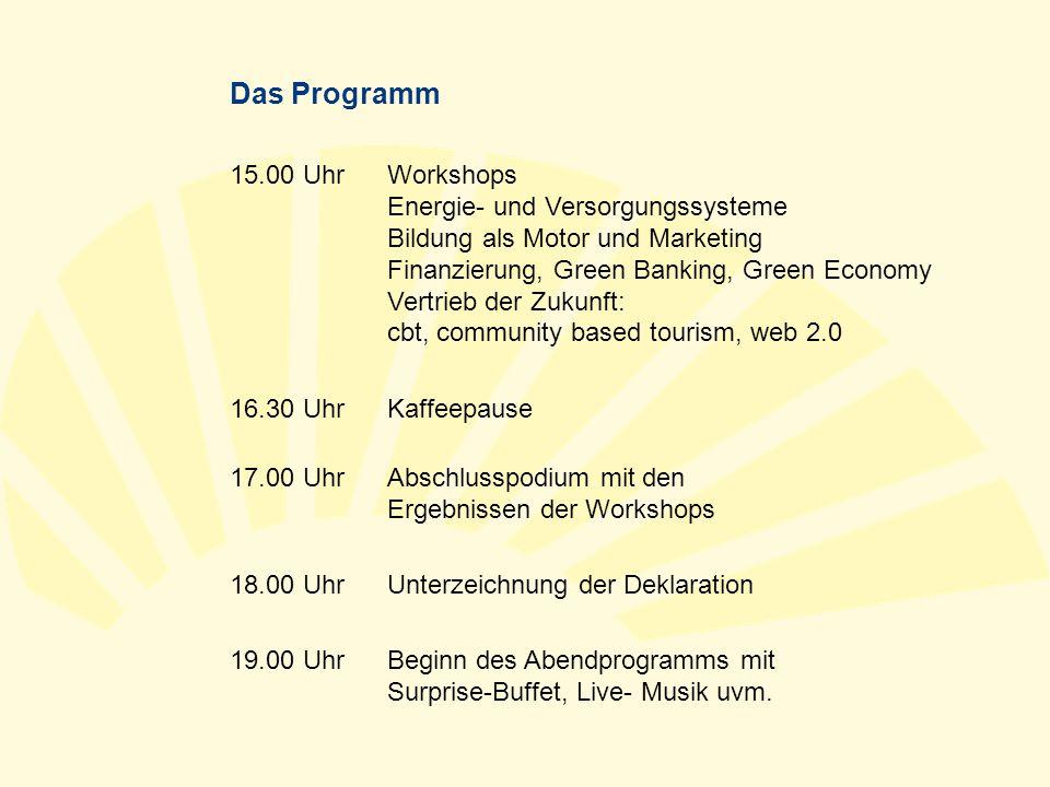 Das Programm 15.00 UhrWorkshops Energie- und Versorgungssysteme Bildung als Motor und Marketing Finanzierung, Green Banking, Green Economy Vertrieb de