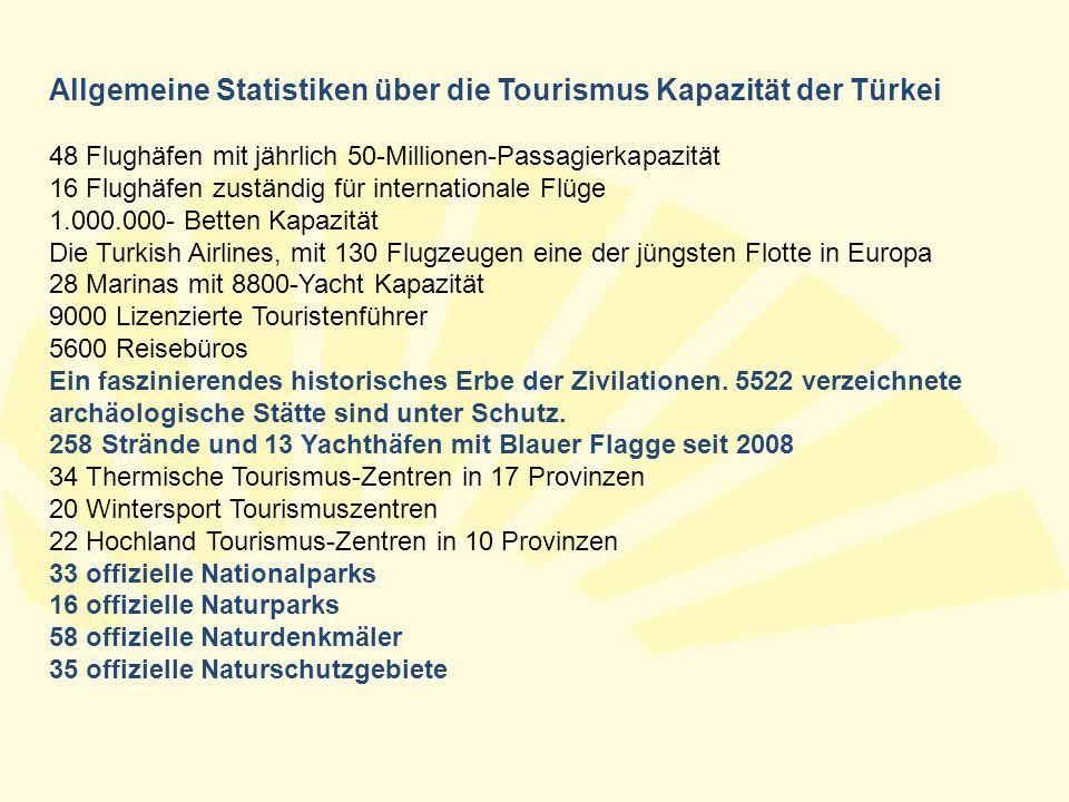 Allgemeine Statistiken über die Tourismus Kapazität der Türkei 48 Flughäfen mit jährlich 50-Millionen-Passagierkapazität 16 Flughäfen zuständig für in
