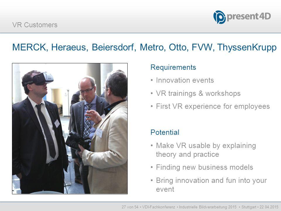 27 von 54 VDI-Fachkonferenz Industrielle Bildverarbeitung 2015 Stuttgart 22.04.2015 VR Customers MERCK, Heraeus, Beiersdorf, Metro, Otto, FVW, Thyssen