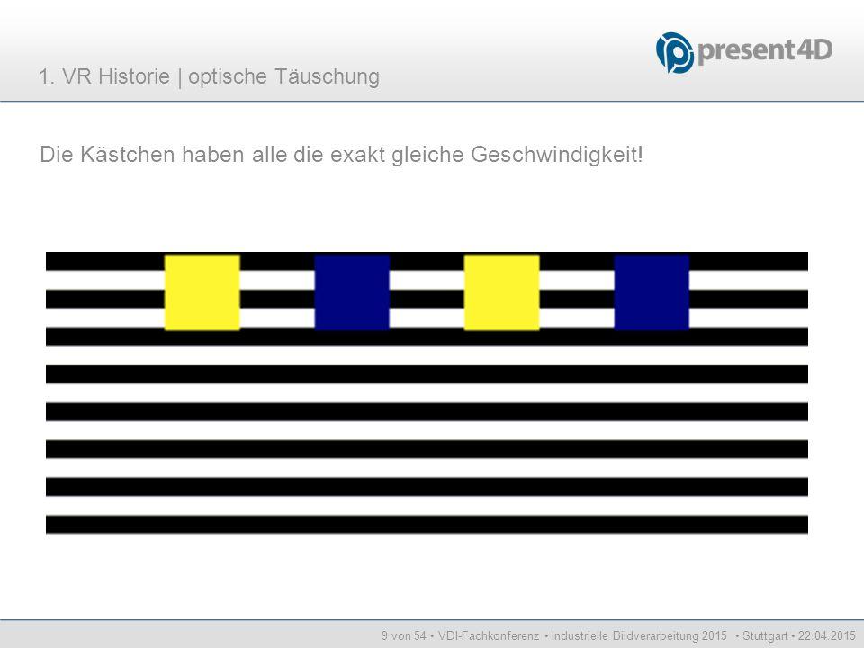 9 von 54 VDI-Fachkonferenz Industrielle Bildverarbeitung 2015 Stuttgart 22.04.2015 Die Kästchen haben alle die exakt gleiche Geschwindigkeit! 1. VR Hi