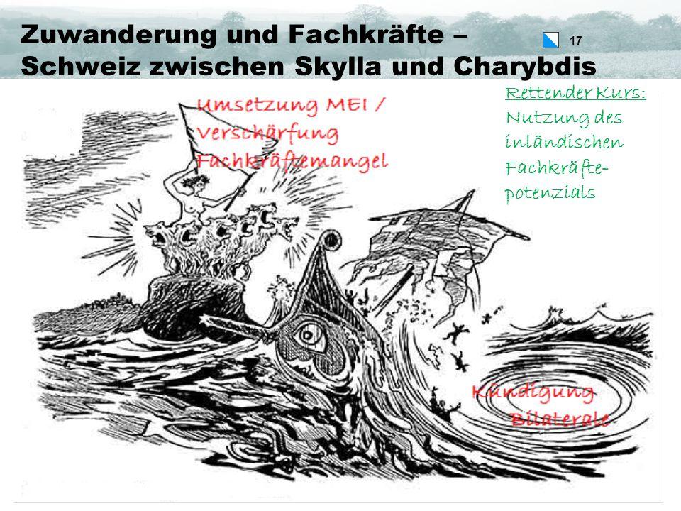17 Zuwanderung und Fachkräfte – Schweiz zwischen Skylla und Charybdis Rettender Kurs: Nutzung des inländischen Fachkräfte- potenzials