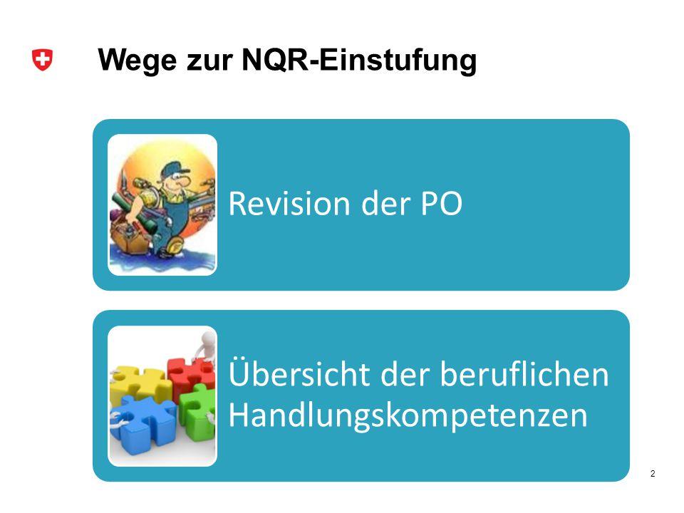 Wege zur NQR-Einstufung Revision der PO Übersicht der beruflichen Handlungskompetenzen 2