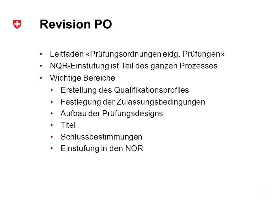 Revision PO Leitfaden «Prüfungsordnungen eidg. Prüfungen» NQR-Einstufung ist Teil des ganzen Prozesses Wichtige Bereiche Erstellung des Qualifikations
