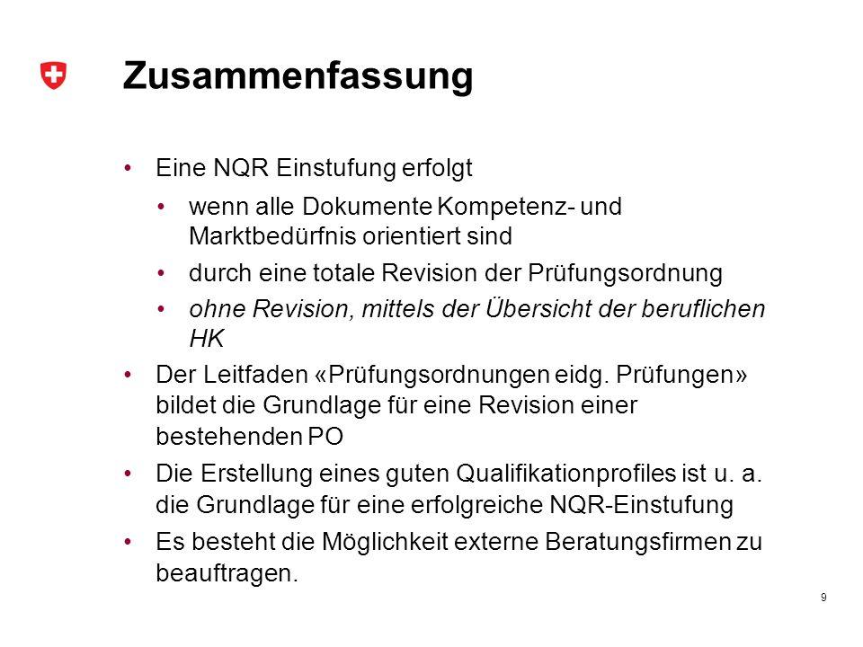 Zusammenfassung Eine NQR Einstufung erfolgt wenn alle Dokumente Kompetenz- und Marktbedürfnis orientiert sind durch eine totale Revision der Prüfungso