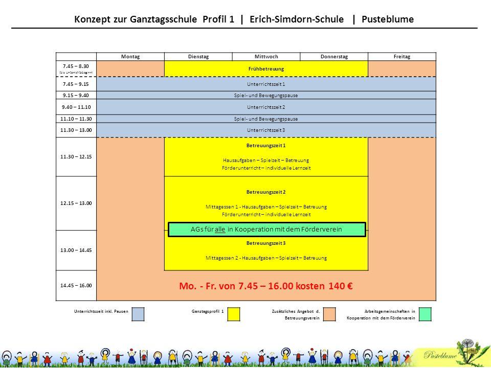 MontagDienstagMittwochDonnerstagFreitag 7.45 – 8.30 (bis Unterrichtsbeginn) Frühbetreuung 7.45 – 9.15Unterrichtszeit 1 9.15 – 9.40Spiel- und Bewegungs