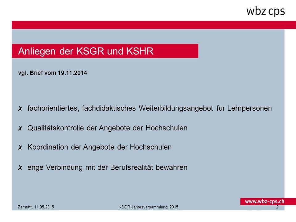 Anliegen der KSGR und KSHR Zermatt, 11.05.2015KSGR Jahresversammlung 20152 vgl.