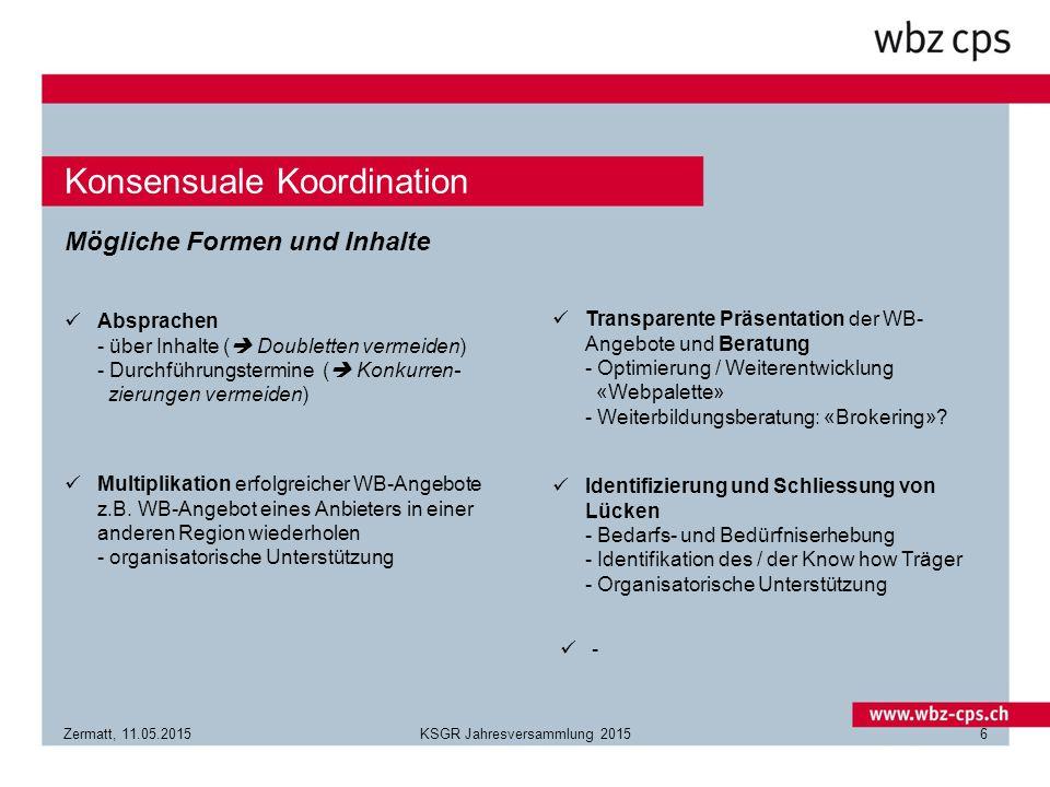 Konsensuale Koordination Zermatt, 11.05.2015KSGR Jahresversammlung 20156 Mögliche Formen und Inhalte Absprachen - über Inhalte (  Doubletten vermeiden) - Durchführungstermine (  Konkurren- zierungen vermeiden) Multiplikation erfolgreicher WB-Angebote z.B.