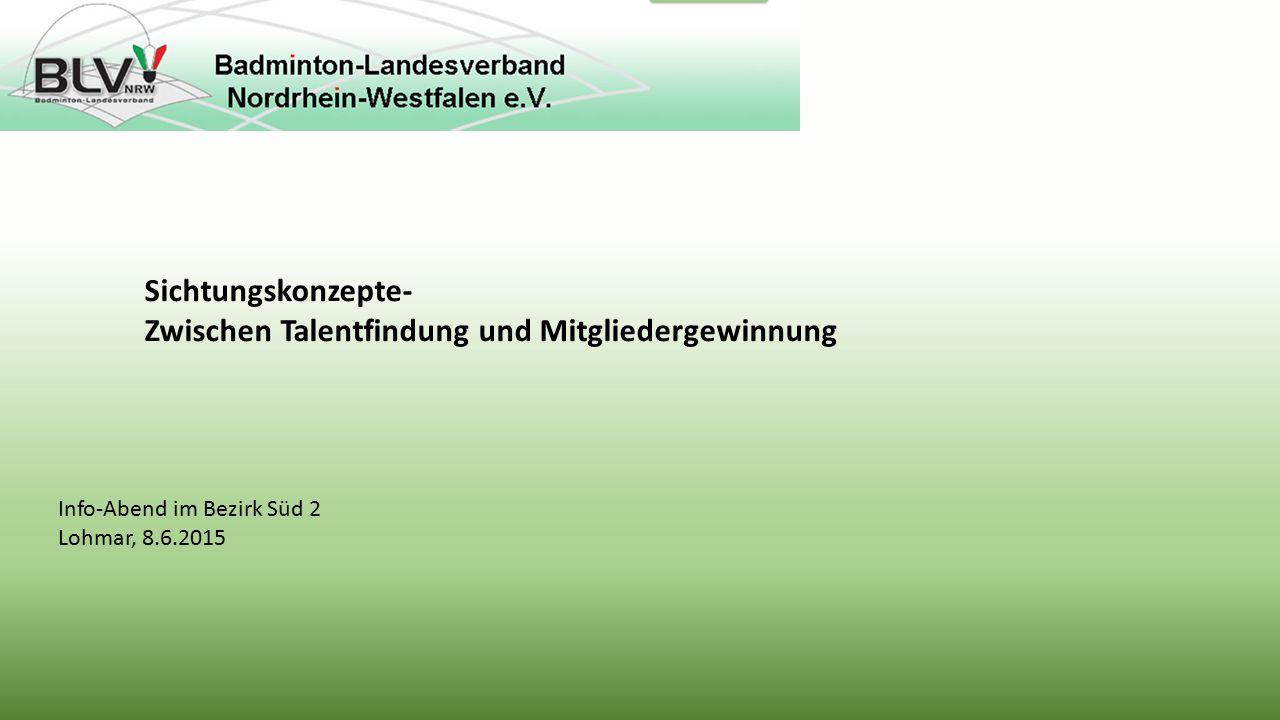 Info-Abend im Bezirk Süd 2 Lohmar, 8.6.2015 Sichtungskonzepte- Zwischen Talentfindung und Mitgliedergewinnung