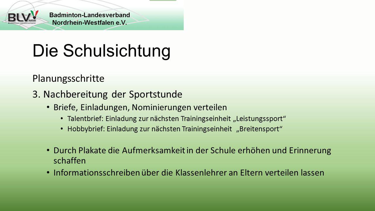 Die Schulsichtung Planungsschritte 3.