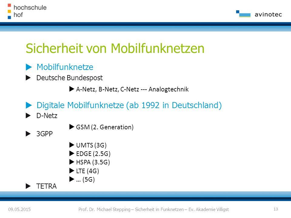 Sicherheit von Mobilfunknetzen  Mobilfunknetze  Deutsche Bundespost  A-Netz, B-Netz, C-Netz --- Analogtechnik  Digitale Mobilfunknetze (ab 1992 in Deutschland)  D-Netz  GSM (2.