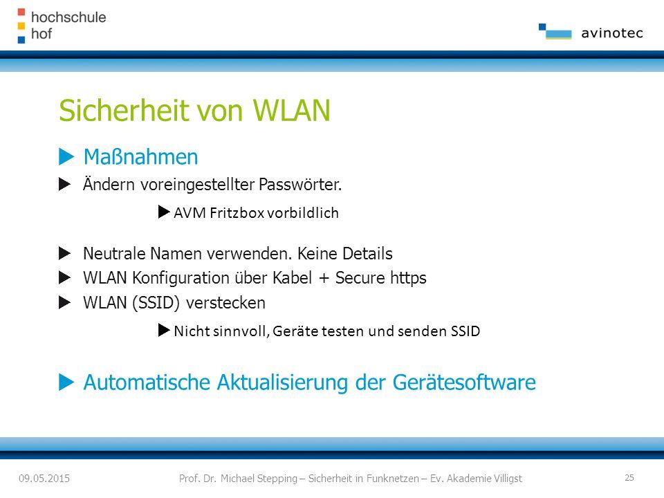 Sicherheit von WLAN  Maßnahmen  Ändern voreingestellter Passwörter.