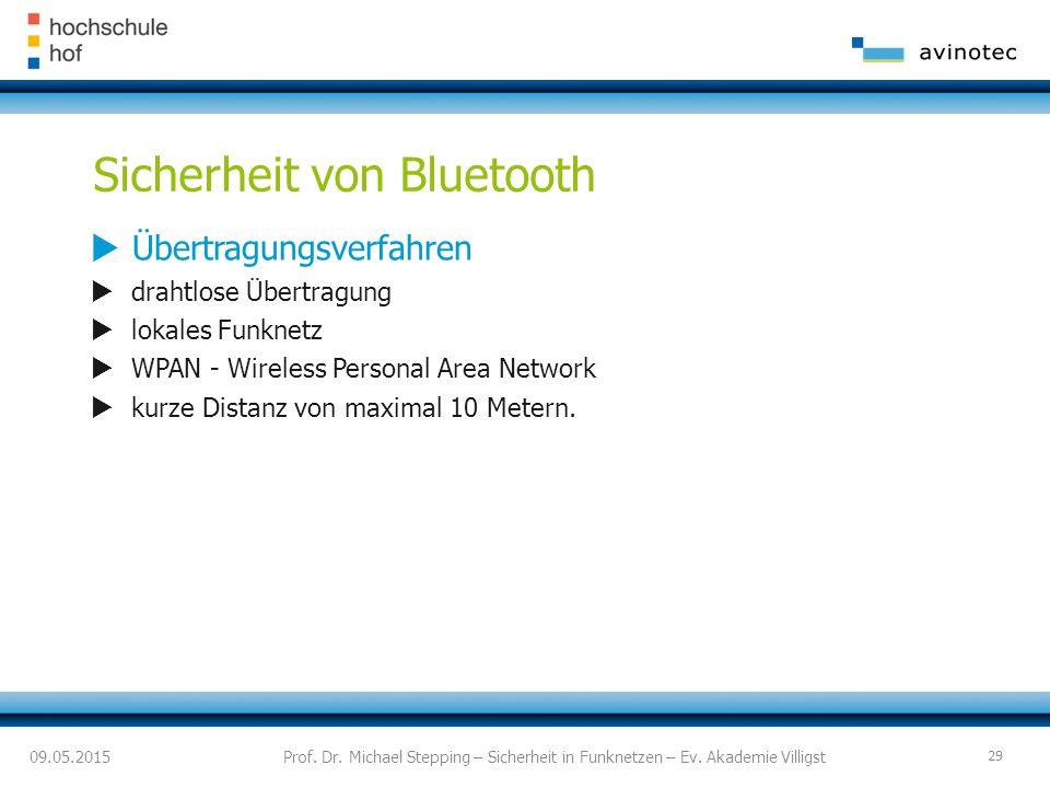 Sicherheit von Bluetooth  Übertragungsverfahren  drahtlose Übertragung  lokales Funknetz  WPAN - Wireless Personal Area Network  kurze Distanz von maximal 10 Metern.