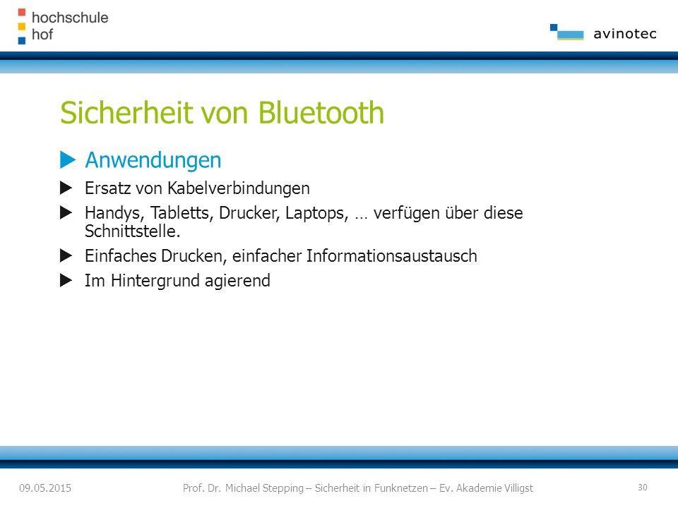 Sicherheit von Bluetooth  Anwendungen  Ersatz von Kabelverbindungen  Handys, Tabletts, Drucker, Laptops, … verfügen über diese Schnittstelle.