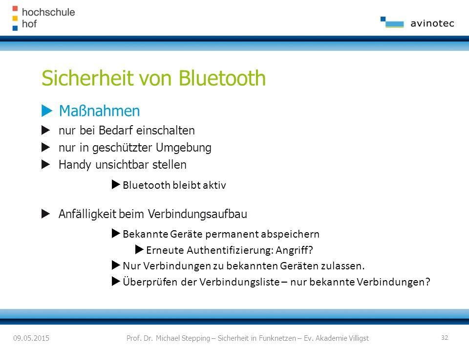 Sicherheit von Bluetooth  Maßnahmen  nur bei Bedarf einschalten  nur in geschützter Umgebung  Handy unsichtbar stellen  Bluetooth bleibt aktiv  Anfälligkeit beim Verbindungsaufbau  Bekannte Geräte permanent abspeichern  Erneute Authentifizierung: Angriff.