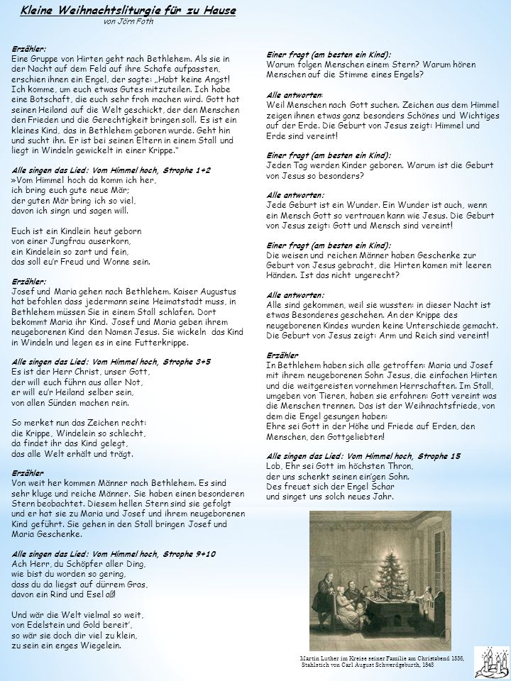 Kleine Weihnachtsliturgie für zu Hause von Jörn Foth Erzähler: Eine Gruppe von Hirten geht nach Bethlehem.