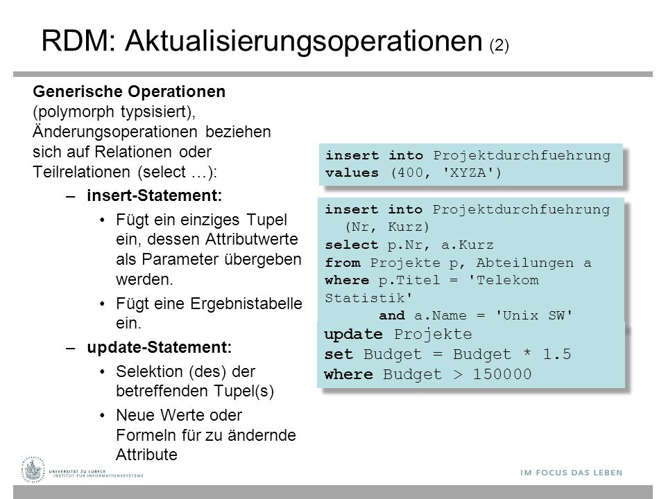 insert into Projektdurchfuehrung (Nr, Kurz) select p.Nr, a.Kurz from Projekte p, Abteilungen a where p.Titel = 'Telekom Statistik' and a.Name = 'Unix
