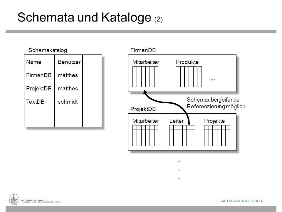 Schemata und Kataloge (2) Name FirmenDB ProjektDB TextDB Benutzer matthes schmidt SchemakatalogFirmenDB MitarbeiterProdukte... ProjektDB MitarbeiterLe